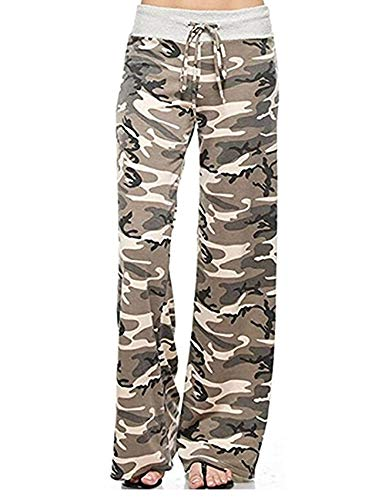 SEASUM Women Palazzo Yoga Pants Striped Wide Leg High Waist Drawstring Long Loose Casual M