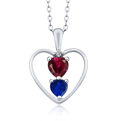 (Gem Stone King 1.11 Ct Red Created Ruby Blue Simulated Sapphire 925 Sterling Silver Pendant)