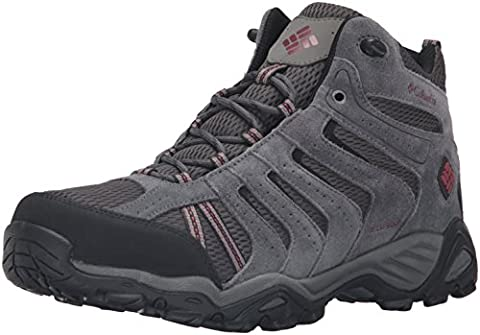 Columbia Men's North Plains Ii Waterproof Mid Hiking Boot, Dark Grey, Garnet Red, 9 D US - Leather Mid Waterproof Boot