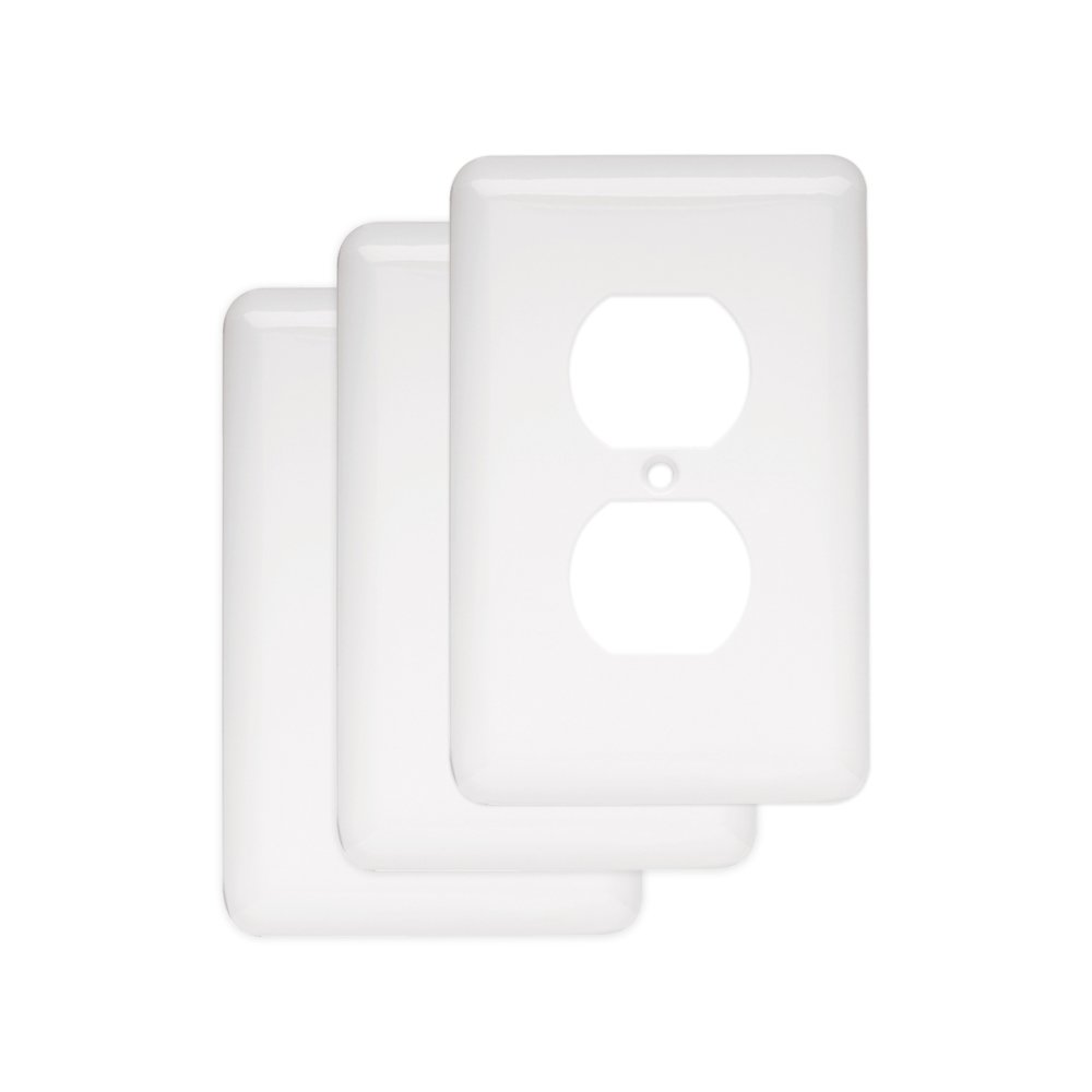 Franklin Brass W10249V-W-C Stamped Steel Round Single Duplex Outlet Wall Plate / Switch Plate / Cover, White, 3-Pack