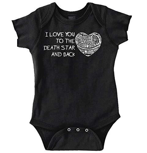 Love You Death Star Back Dating Romantic Romper Bodysuit Black