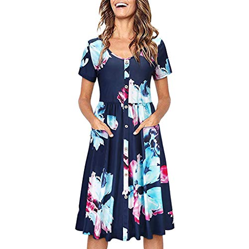 OrchidAmor 2019 Women Summer Fashion Casual O-Collar Printed Short-Sleeved Dresses Navy