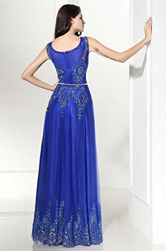 Del Spettacolo Borda Dressylady Promenade Vestito Convenzionali Sera Reale Abiti Partito Da Il Che Una Di Affascinante Lungo Blu Linea Di IqCq86w