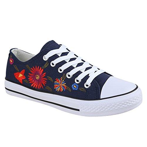 Damen Sneakers Blumen Freizeitschuhe Denim Sneaker Low Schuhe Stoffschuhe Turnschuhe Flandell Blau Flower