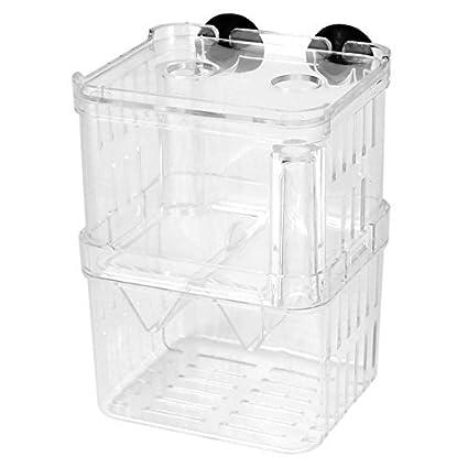 eDealMax Capas dobles de plástico acuario de peces de cría Aislamiento caja transparente w ventosas