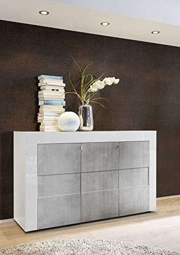 Mr Mrs Home Bahut Blanc Laque Et Effet Beton Design Julio