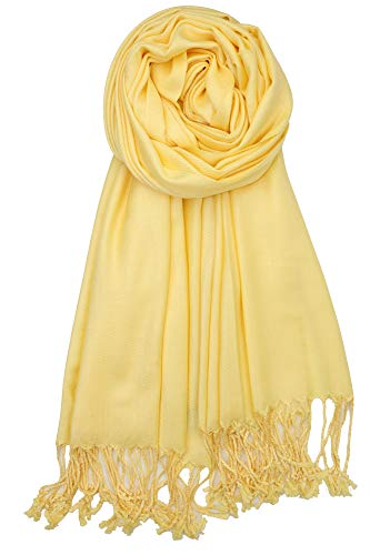 Achillea Soft Silky Solid Pashmina Shawl Wrap Scarf for Wedding Bridesmaid Evening Dress … (Pastel Yellow)