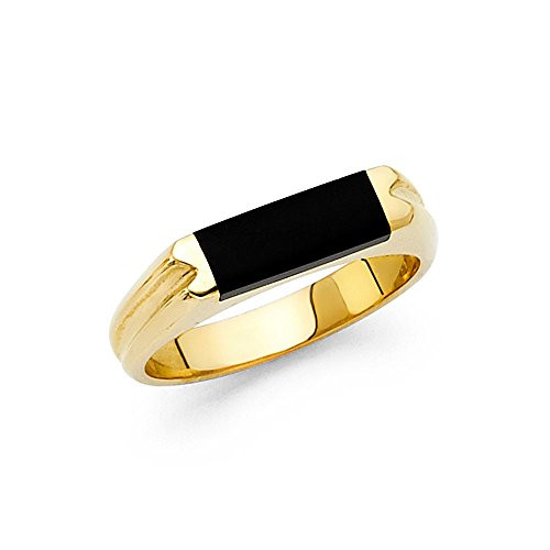 Mens Fancy Onyx (Onyx Ring Solid 14k Yellow Gold Band Mens Black Diamond Cut Stylish Square Design Polished Fancy, Size 12)