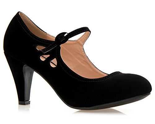 Adorable Black Peep Toe (OLIVIA K Women's Kitten Heels Mary Jane Pumps - Adorable Vintage Shoes- Unique Round Toe Design With An Adjustable Strap,Black Nubuck,10 B(M) US)