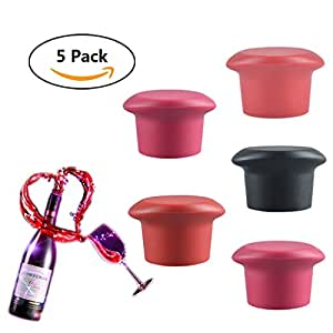 Silicone Wine Stopper, Silicone Reusable Wine Bottle Stopper/Beer Sealer Cover, Assorted Colors Silicone Wine Bottle Caps,Wine Accessories GiftSet of 5