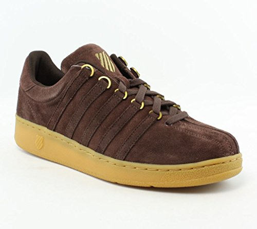 K-Swiss Men's Classic VN Suede Casual Shoe, Chocolate/Gold/Gum, 10 M US
