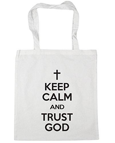 Beach Bag Calm HippoWarehouse God Keep 42cm Gym Shopping and litres Tote x38cm 10 Trust White 1xx8gpa