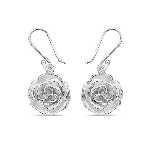 925 Solid Sterling Silver Minimalist Rose Dangling Earrings - Dangle Flower Nickel Free Wedding Jewelry ()