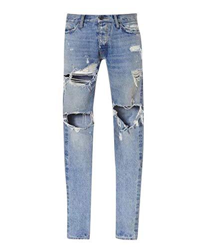 Vintage Slim Fit In Uomo Knee Con Jeans Hellblau Aderenti Cher Distrutti Pantaloni Buche Da R08vRW1T