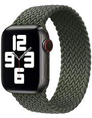 RHNTGD flätad solo rosett nylontyg armband för Apple klocka band 44 mm 40 mm 38 mm 42 mm elastiskt armband för Iwatch-serie 6 Se 5 4 3
