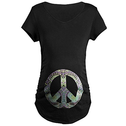 CafePress Groovy Summer Peace Maternity T-Shirt - Cotton Maternity T-shirt, Side Ruched Scoop Neck Peace Maternity Tee