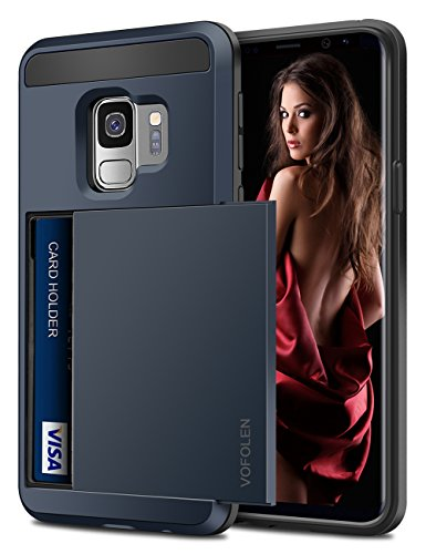 Galaxy S9 Case, Vofolen Galaxy S9 Case Wallet Card Slot Holder Sliding Cover Hidden Pocket Dual Layer Heavy Duty Protection Rugged Hard Shell TPU Bumper Armor Protective Case for Galaxy S9 (Navy)