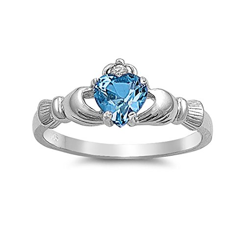 Blue Topaz Claddagh Ring (Irish Claddagh Heart Promise Ring Simulated Blue Topaz Round CZ 925 Sterling Silver)