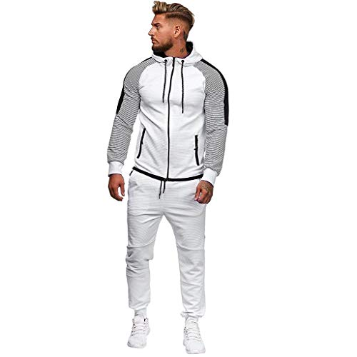 YKARITIANNA Men's Autumn Winter Thicken Sweatshirt Top Pants Sets Sports Suit Tracksuit Winter Sports Outdoor Recreation White