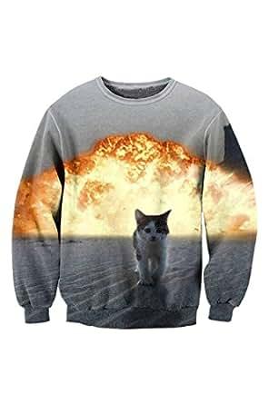 PinkWind Women's 3D Cat Kitty Print Autumn Fall Thin Sweatshirt Sweater Shirt S