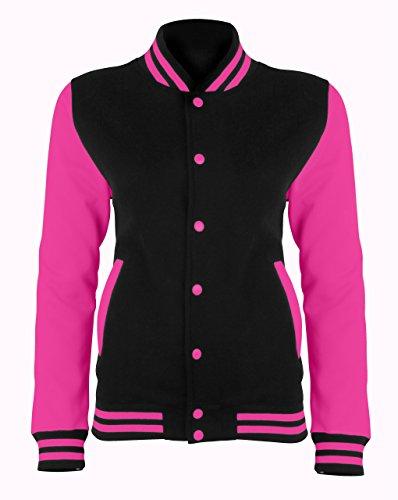 Damen AWDis Kontrast Farben Varsity Jacke Jet Schwarz/Electric Pink Größe S
