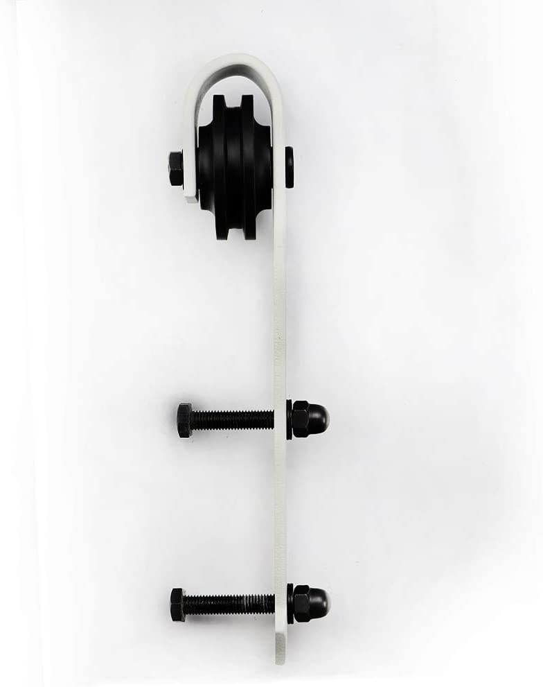 White Vintage Arrow Sliding Barn Door Track and Hardware Kit Length: 12ft Double kit