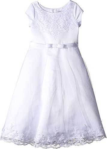 Us Angels Girl's Satin & Embroidered Netting Cap Sleeve A-Line Dress (Little Kids/Big Kids) White 12 - Embroidered Bodice A-line Satin
