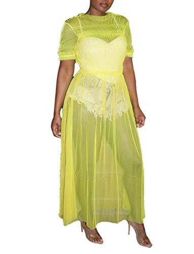 (Women Mesh Sheer Dress Short Sleeve Round Neck Ruffle Long Maxi Party Club Dress Bikini Cover up Yellow)