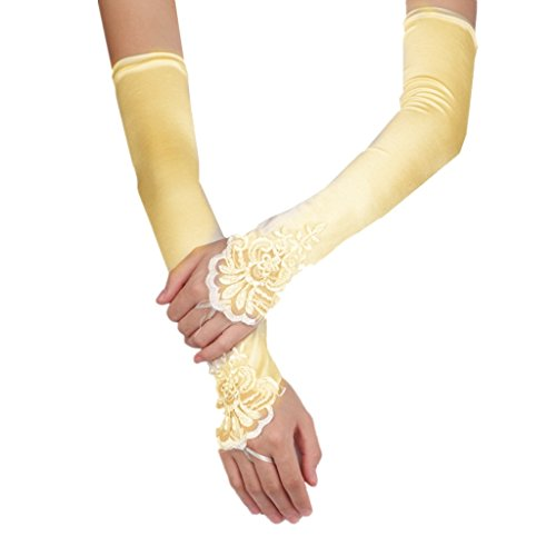 DreamHigh Satin Lace Fingerless Elbow Length Wedding/Party/Evening Gloves