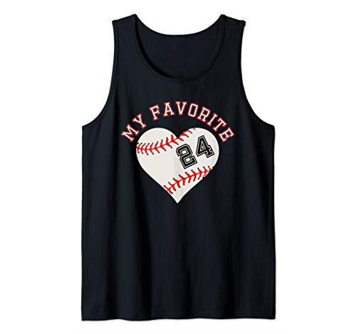Baseball Player 24 Heart Outfit Jersey No #24 Sport Fan Gift Tank -