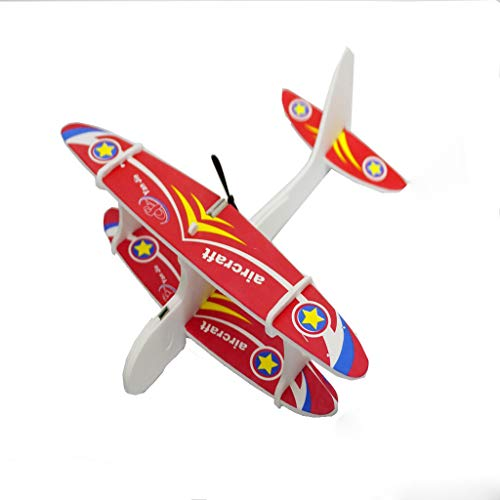 Aiaban Cute Electric Foam Biplane Models Aircraft Elastic Powered for Kids Family Set Fun Flying Toys Gifts for Boys or Girls