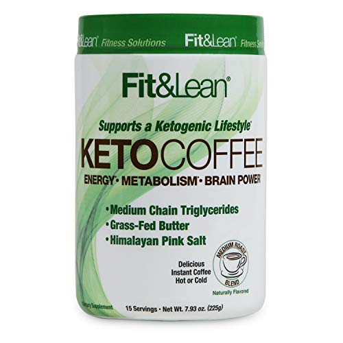 Fit & Lean Keto Coffee Premium Gourmet Ketogenic Medium Roast Instant Coffee Blend, Coconut Oil, MCTs, Grass-Fed Butter, Caffeinated, Himalayan Pink Salt, Natural Flavors