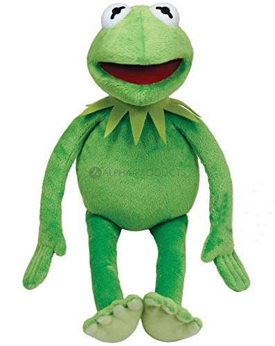 Kermit The Frog Doll by Alpha Toy Products - Medium Size (16 inch Length) Soft Plush Stuffed Doll - Green (Emerald) Color ()
