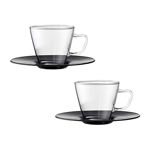 Bohemia Cristal 093012107Play of Colors Borosilicate Glass Set of 2Espresso Cups with Saucer Plastic Drinking Glass Black 0.1x 0.1x 5cm 2Units