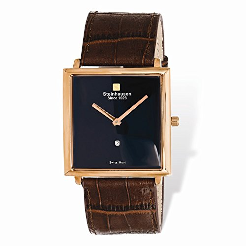 - Mens Steinhausen Artiste IP-Rose Brown Strap Swiss Quartz Watch