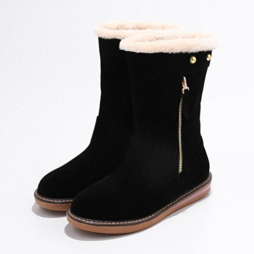 COOLCEPT Women Winter Boots Pull On Black xC7cEOvELq