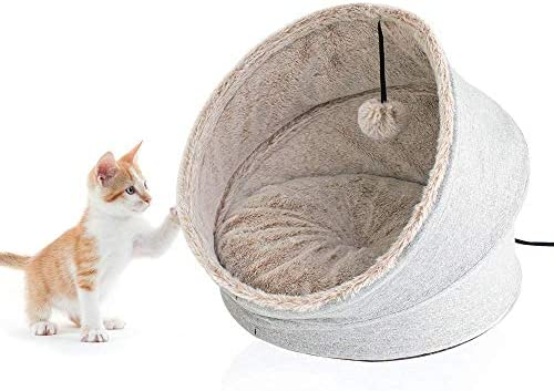 Cat Bed for Indoor – Pet Tent Comfortable Calming Cave Bed for Small Dogs Cats, Improve Sleep Kitten Beds, Super Soft Pet Supplies for Puppy, Rabbit, Anti-Slip Bottom Removable Reversible Dog Cushion