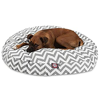 Image of Pet Supplies Gray Chevron Large Round Indoor Outdoor Pet Dog Bed With Removable Washable Cover By Majestic Pet Products