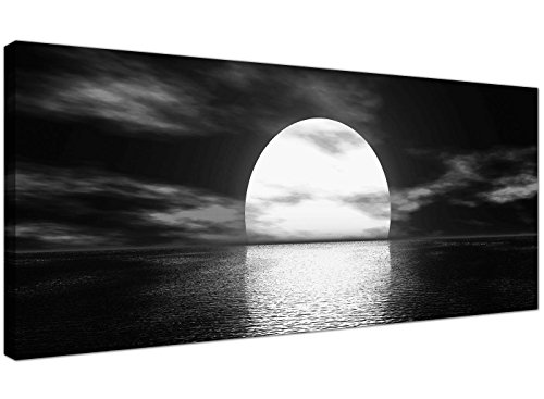 Modern Black and White Canvas Wall Art of a Tropical Ocean Sunset - Sea Canvas Pictures - 1003 - Wallfillersby Wallfillers