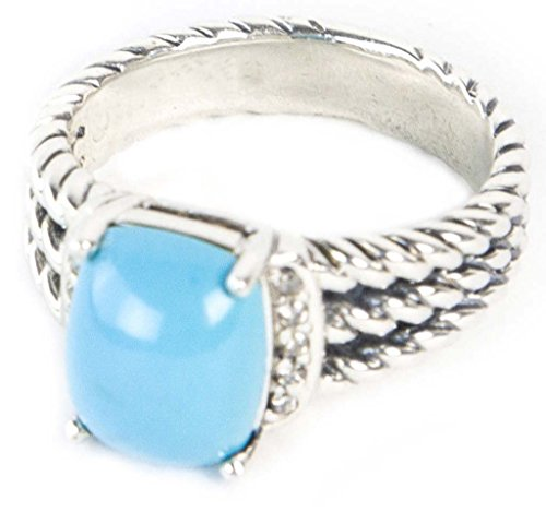 (GEMPARA Designer Inspired Twisted Cable 10x8mm Sleeping Beauty Turquoise Cushion Ring Size 9 (8))