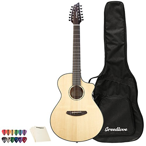 Breedlove Pursuit Concert 12 String CE Sitka-Mahogany Acoustic-Electric Guitar with Pick Sampler and Polish Cloth