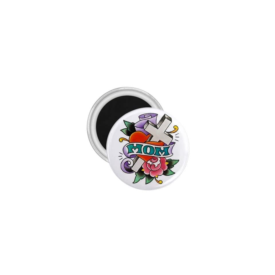 Tattoo Cross MOM Art Fridge Souvenir Magnet 2.25