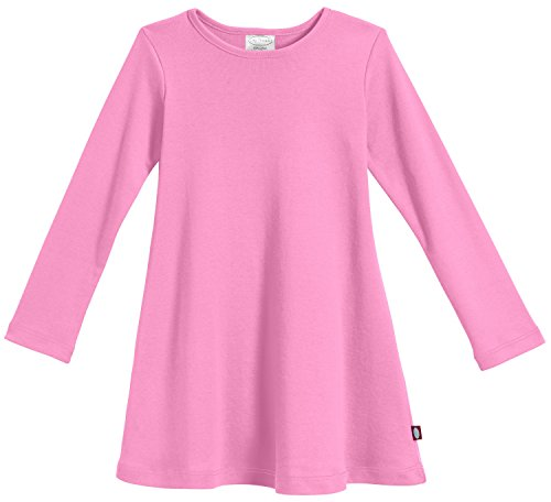City Threads Big Girls' Cotton Long Sleeve Dress for School or Play for Sensitive Skin SPD Sensory Friendly, Bubblegum, 7