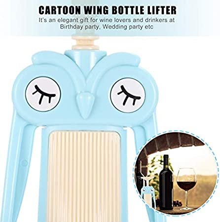Cabilock Sacacorchos Abridor de Vino de Plástico de Dibujos Animados de Búho Abridor de Botellas de Vino Manual Removedor de Corcho Herramientas para Amantes del Vino Camareros Accesorios