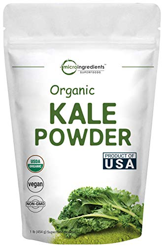 Sustainably US Grown, Organic Kale Powder, 1 Pound (90 Servings), Green Superfood for Overall and Liver Health, No GMOs and Vegan Friendly (Kale Shake)