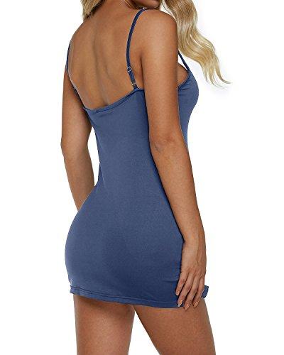 Sin azul Backless Casual Vestido Delgado Mangas Tirantes Falda Marino Ajustado Auxo 03 Fiesta Verano Mujer pROqII