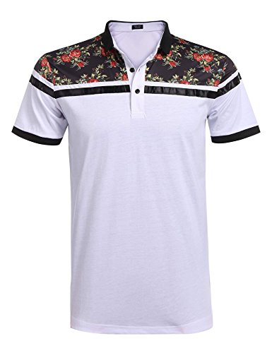 (COOFANDY Men's Classic Floral Stripe Long Short Sleeve Light Weight Polo Shirts )