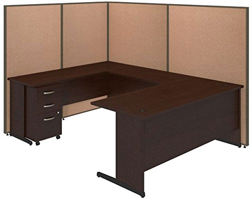 BSHPPC026HT - Bush Industries 72W C-Leg U-Station with 3 Drawer Mobile Pedestal in Mocha Cherry and Harvest Tan (C-leg Stations)