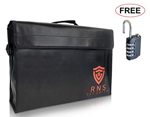 Large Fireproof Document Bag 17.5x12x5 2000°F Double Layer Non Itchy Locking Zipper Free Lock Fire Explosion Proof Heat Retardant Water Resistant Security Money Pouch Portable Safe Cash Box Lipo ()