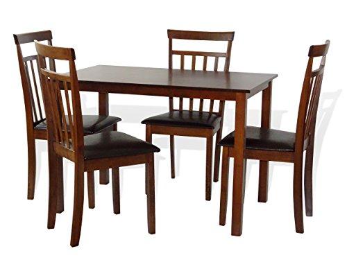 Dining Kitchen 5 Pc SET Rectangular Table and 4 Warm Chairs Dark Walnut